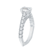 14K White Gold Emerald Cut Diamond Cathedral Style Engagement Ring with Euro Shank (Semi Mount) Engagement Ring CARIZZA