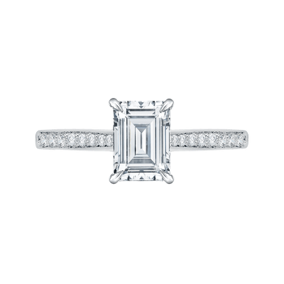 Emerald Cut Diamond Solitaire with Accents Engagement Ring In 14K White Gold (Semi Mount)