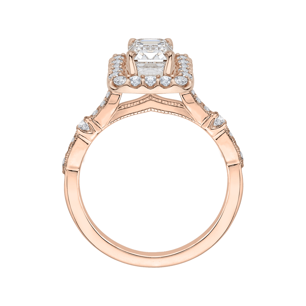 14K Rose Gold Emerald Cut Diamond Halo Vintage Engagement Ring (Semi Mount) Engagement Ring CARIZZA