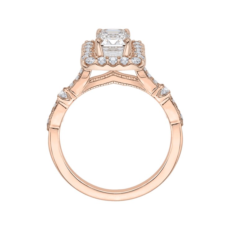 14K Rose Gold Emerald Cut Diamond Halo Vintage Engagement Ring (Semi Mount)