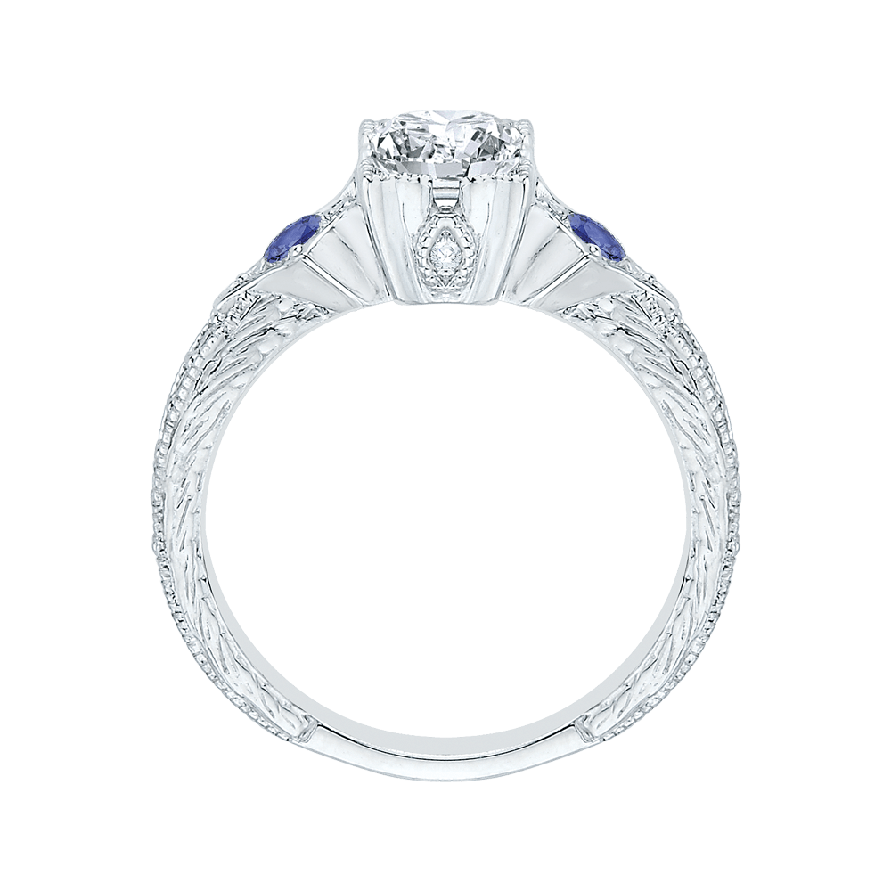 14K White Gold Emerald Cut Diamond Engagement Ring with Sapphire (Semi Mount) Engagement Ring CARIZZA