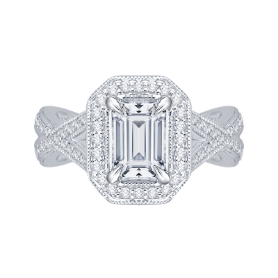 14K White Gold Emerald Cut Diamond Halo Engagement Ring with Split Shank (Semi Mount) Engagement Ring CARIZZA