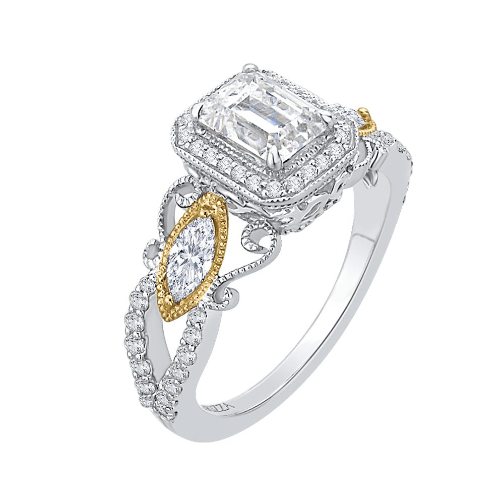 14K Two Tone Gold and Diamond Emerald Cut Semi-Mount