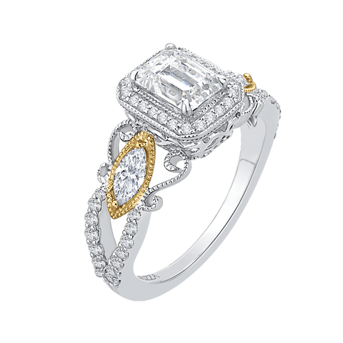 Image of 14K Two Tone Gold and Diamond Emerald Cut Semi-Mount