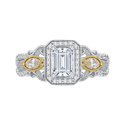 14K Two Tone Gold Emerald Cut Diamond Halo Engagement Ring (Semi Mount) Engagement Ring CARIZZA