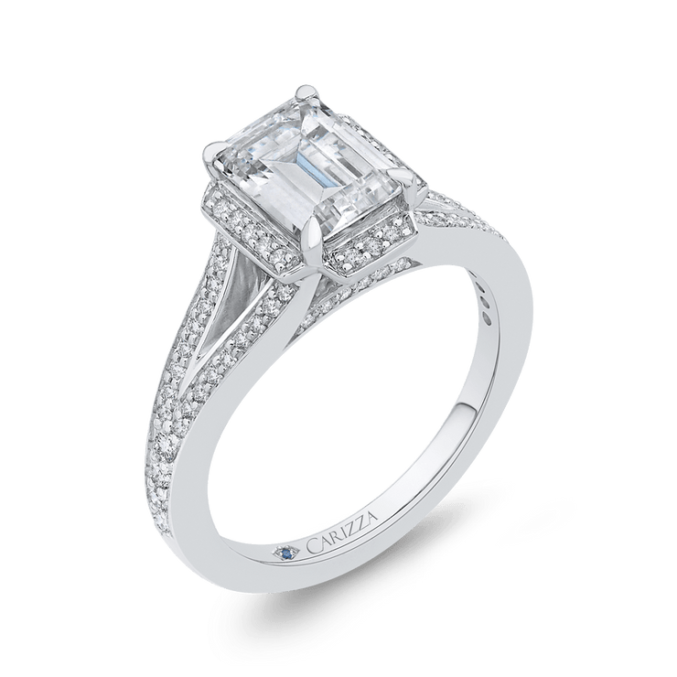 14K White Gold Emerald Cut Diamond Cathedral Style Engagement Ring with Split Shank (Semi Mount) Engagement Ring CARIZZA