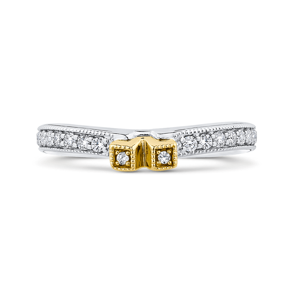Round Diamond Wedding Band In 14K Two Tone Gold Wedding Band CARIZZA