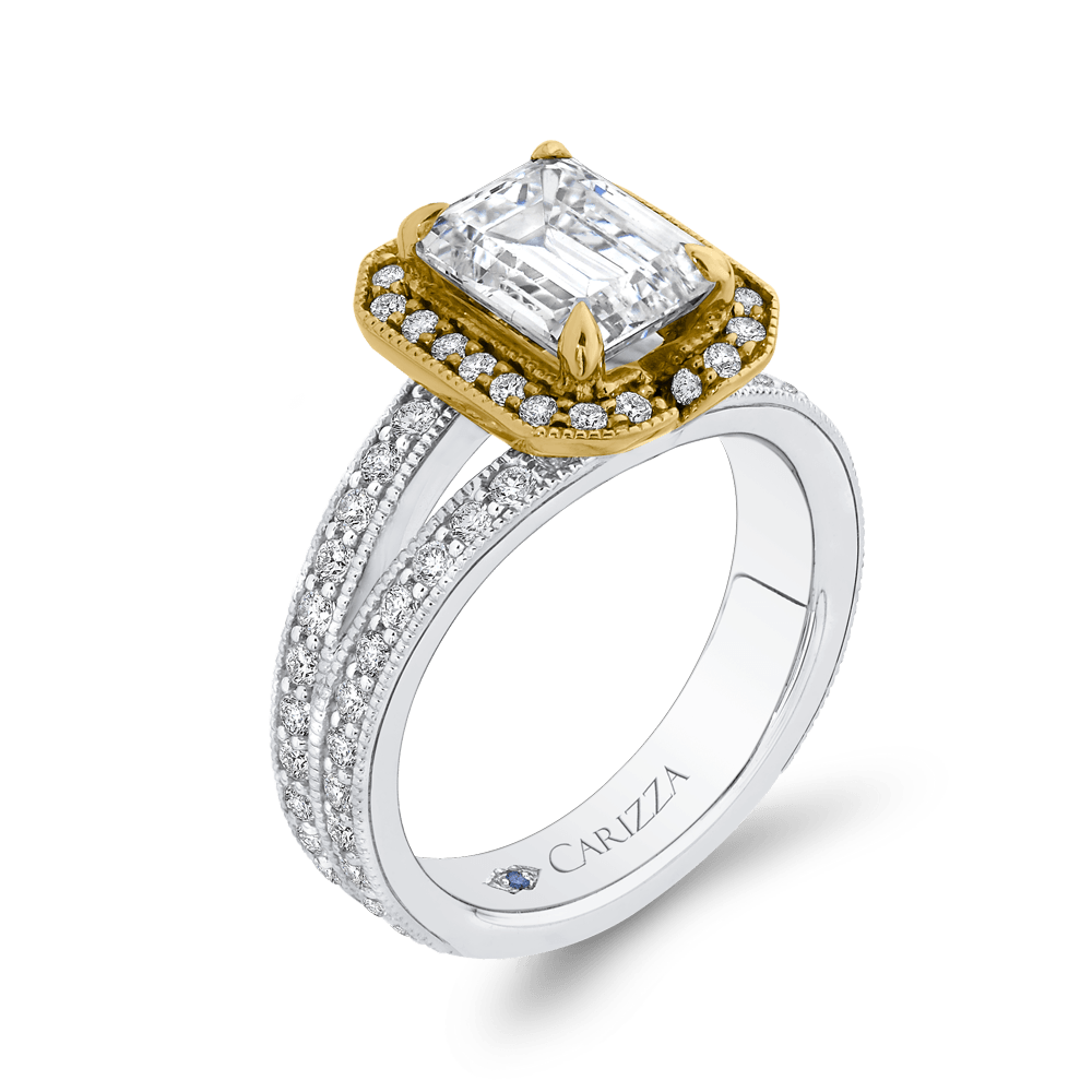14K Two Tone Gold Emerald Diamond Engagement Ring with Split Shank (Semi Mount) Engagement Ring CARIZZA