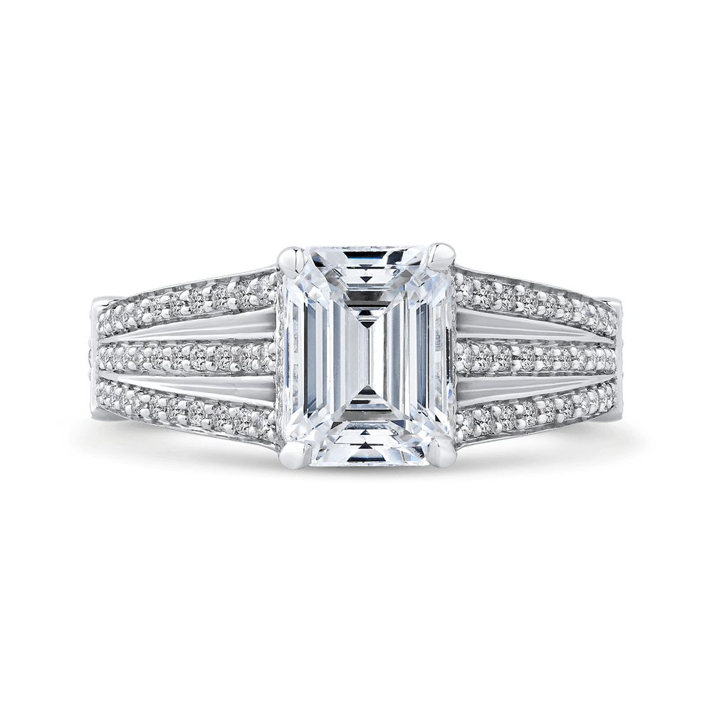 14K White Gold Emerald Diamond Engagement Ring with Split Shank (Semi Mount) Engagement Ring CARIZZA