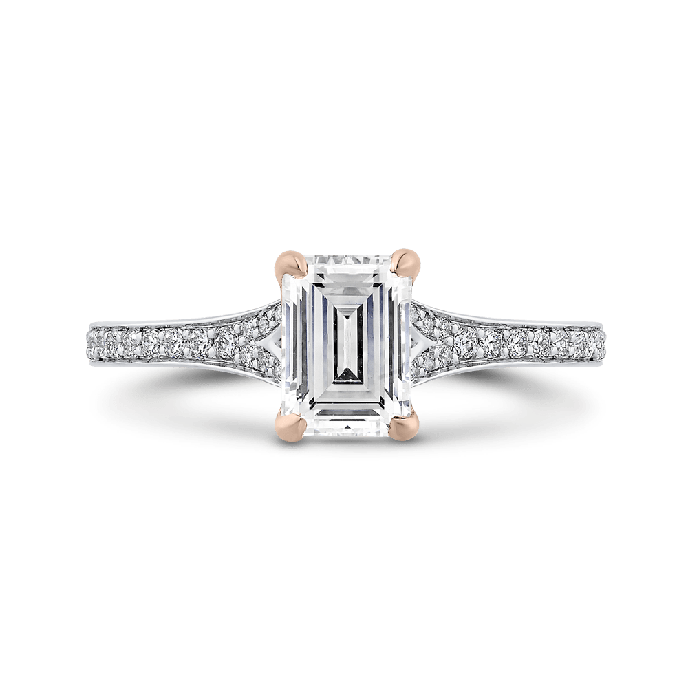 14K Two Tone Gold Emerald Cut Diamond Engagement Ring (Semi Mount) Engagement Ring CARIZZA