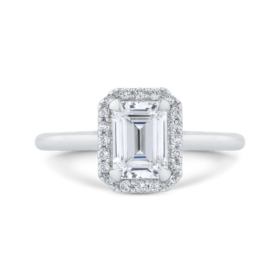 14K White Gold Emerald Cut Diamond Halo Engagement Ring (Semi Mount) Engagement Ring CARIZZA