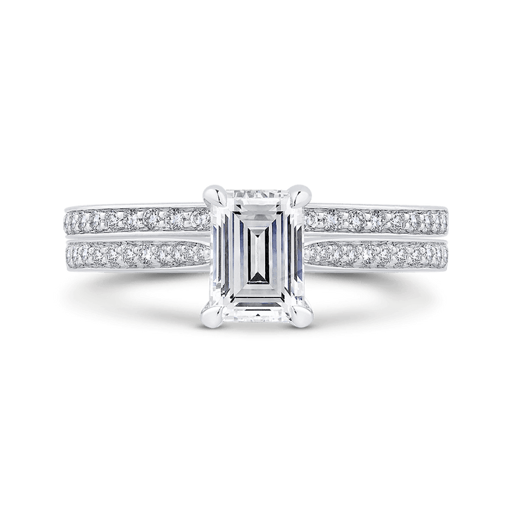 14K White Gold Emerald Cut Diamond Engagement Ring (Semi Mount) Engagement Ring CARIZZA