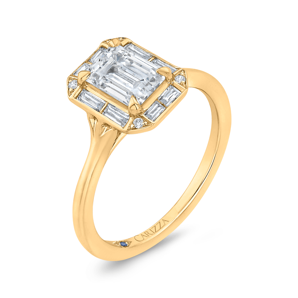 Emerald Cut Diamond Engagement Ring with Round Shank In 14K Yellow Gold (Semi-Mount) Engagement Ring CARIZZA