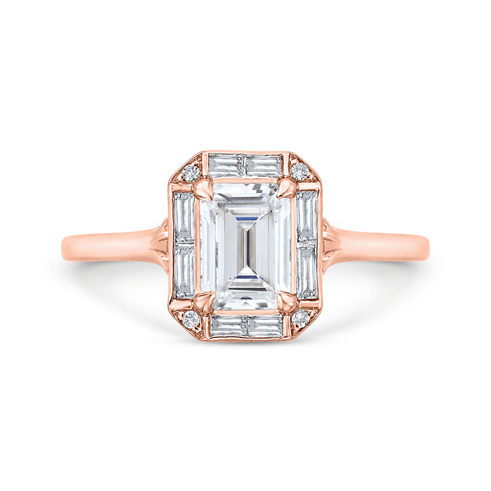 Emerald Cut Diamond Engagement Ring with Round Shank In 14K Rose Gold (Semi-Mount) Engagement Ring CARIZZA