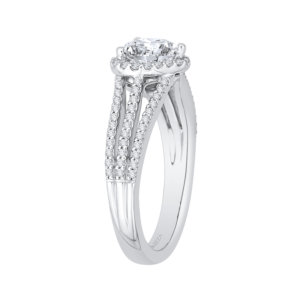 14K White Gold Heart Diamond Halo Engagement Ring with Split Shank (Semi Mount) Engagement Ring CARIZZA