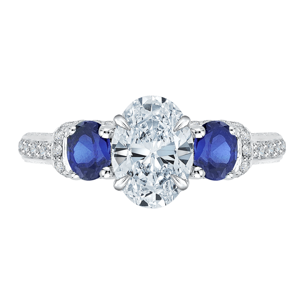 14K White Gold Oval Diamond With Sapphire Three Stone Engagement Ring (Semi Mount) Engagement Ring CARIZZA