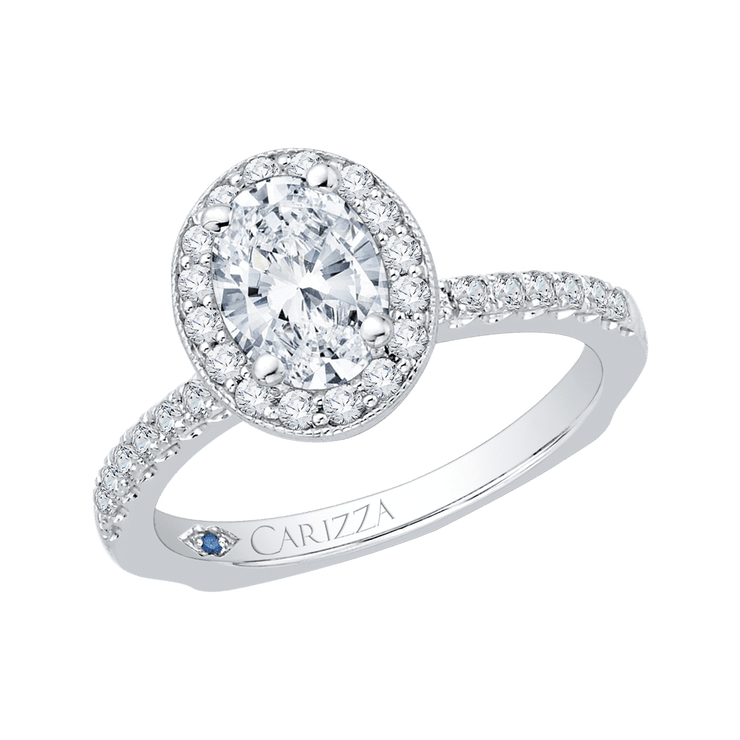 14K White Gold Oval Diamond Halo Engagement Ring with Euro Shank (Semi Mount) Engagement Ring CARIZZA