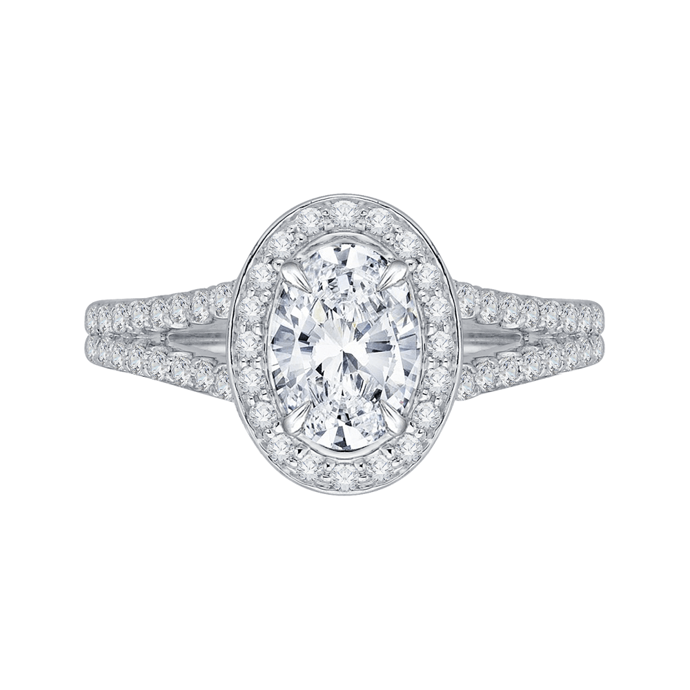 14K White Gold Oval Diamond Halo Engagement Ring with Split Shank (Semi Mount) Engagement Ring CARIZZA