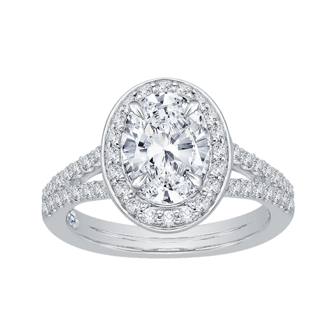 Image of 14K-White-Gold-Oval-Diamond-Halo-Engagement-Ring-with-Split-Shank-(Semi-Mount)