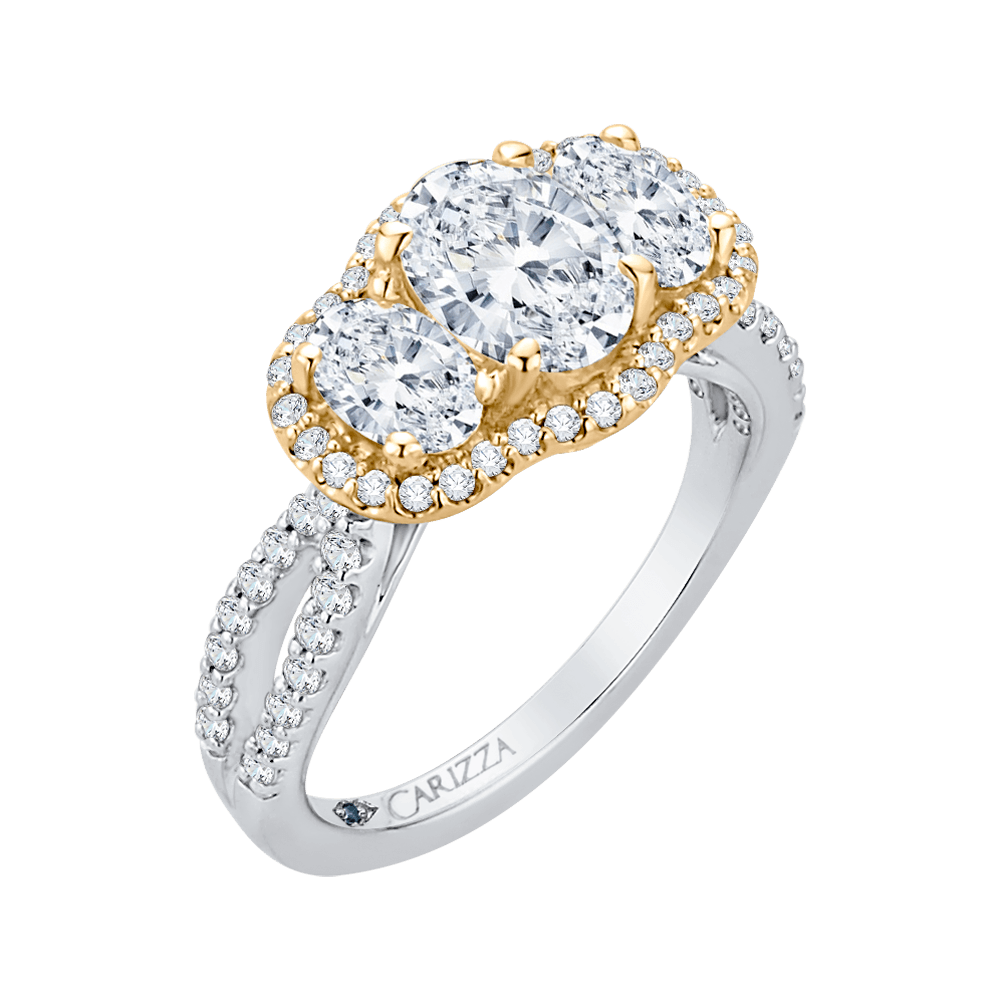 14K Two Tone Gold Oval Cut Diamond Three Stone Halo Engagement Ring (Semi Mount) Engagement Ring CARIZZA