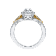 14K Two Tone Gold Oval Diamond Halo Engagement Ring (Semi Mount) Engagement Ring CARIZZA
