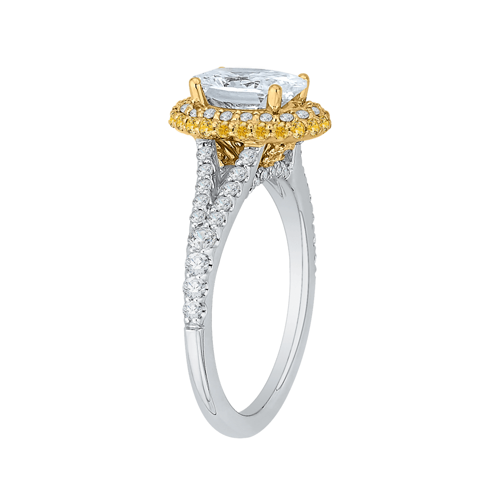 14K Tow Tone Gold Oval Diamond Halo Engagement Ring with Split Shank (Semi Mount) Engagement Ring CARIZZA