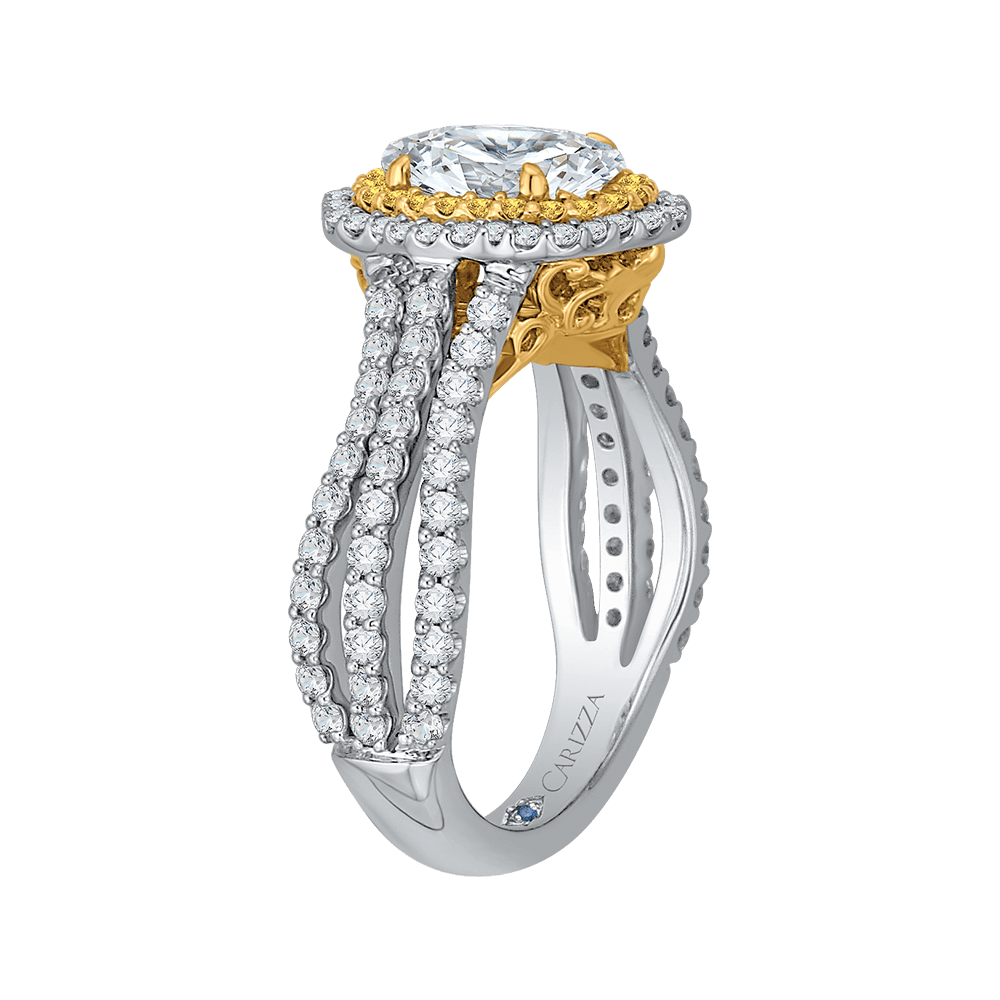 14K Two Tone Gold Oval Diamond Double Halo Vintage Engagement Ring (Semi Mount) Engagement Ring CARIZZA