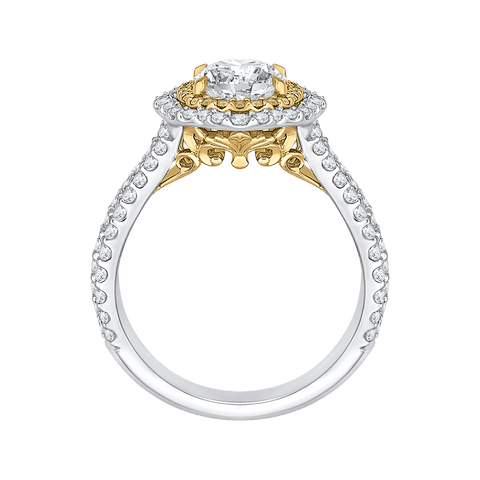 Image of 14K-Two-Tone-Gold-Oval-Diamond-Double-Halo-Vintage-Engagement-Ring-(Semi-Mount)
