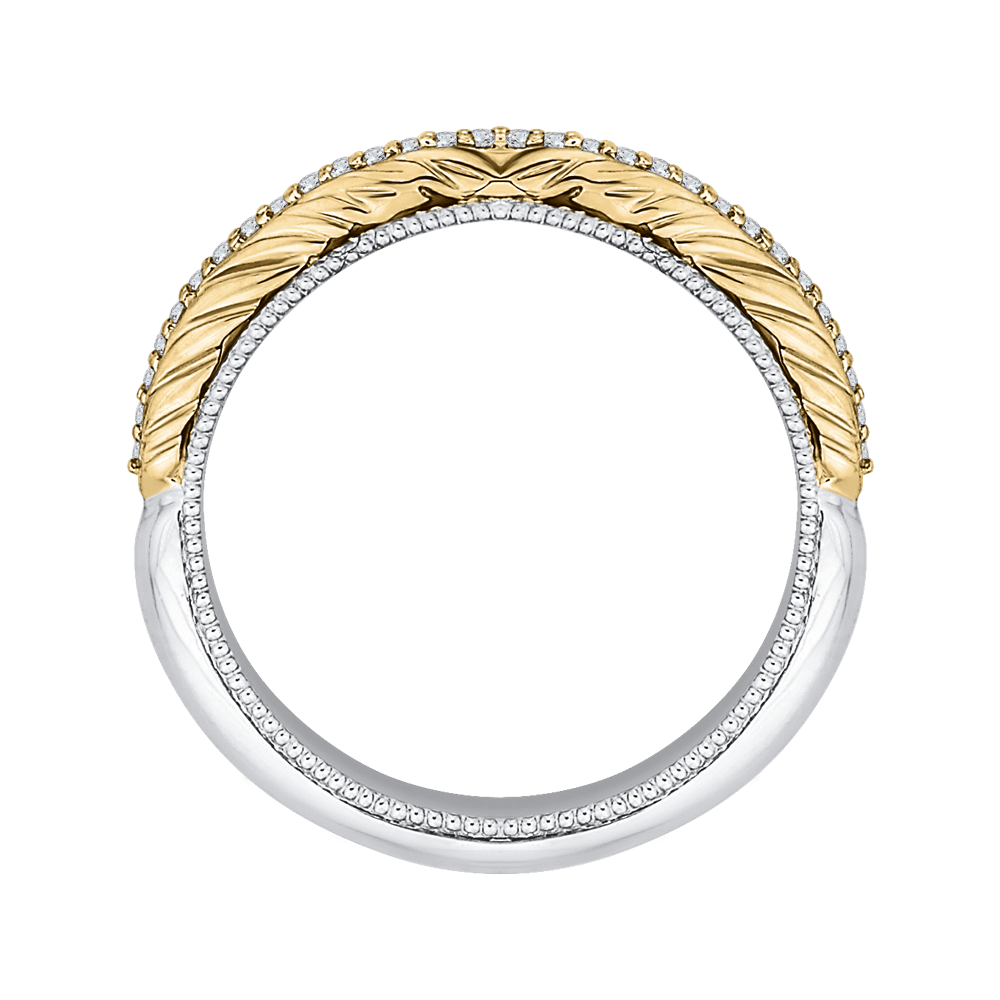 Round Diamond Half Eternity Wedding Band In 14K Two Tone Gold Wedding Band CARIZZA
