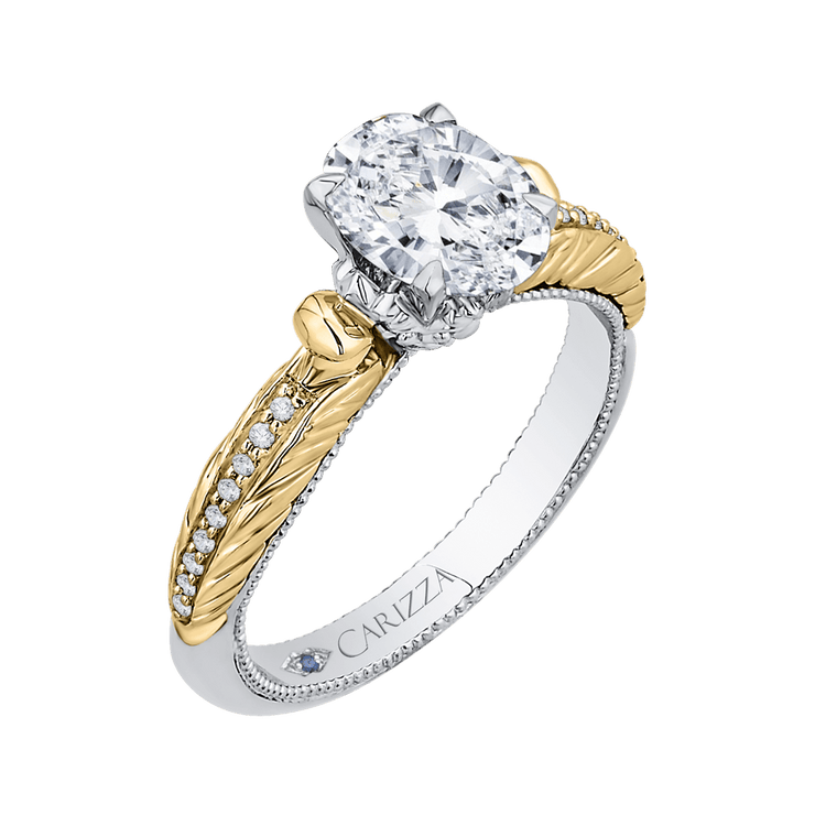 14K Two Tone Gold Oval Diamond Engagement Ring (Semi Mount) Engagement Ring CARIZZA