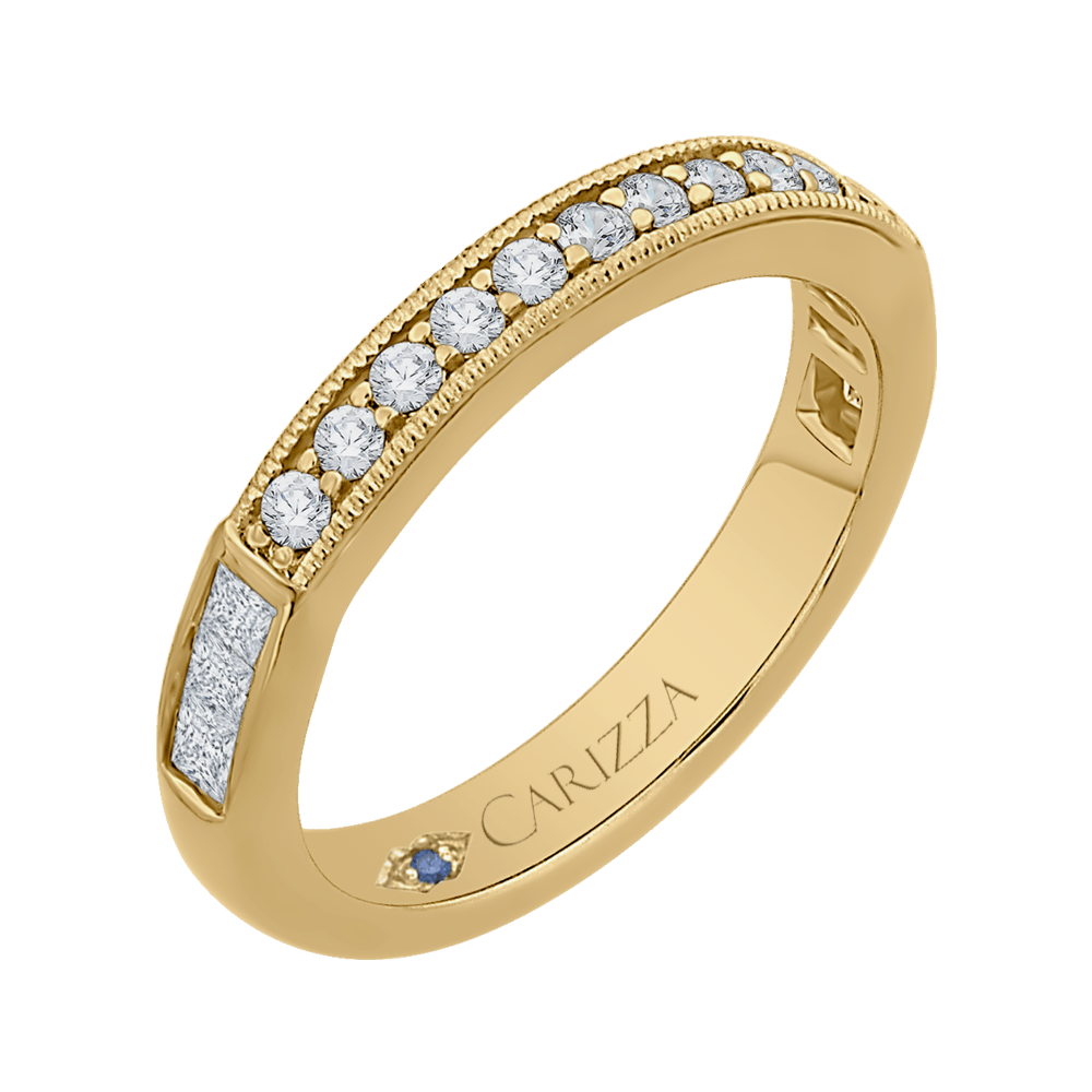 14K Yellow Gold Round and Princess Diamond Wedding Band Wedding Band CARIZZA