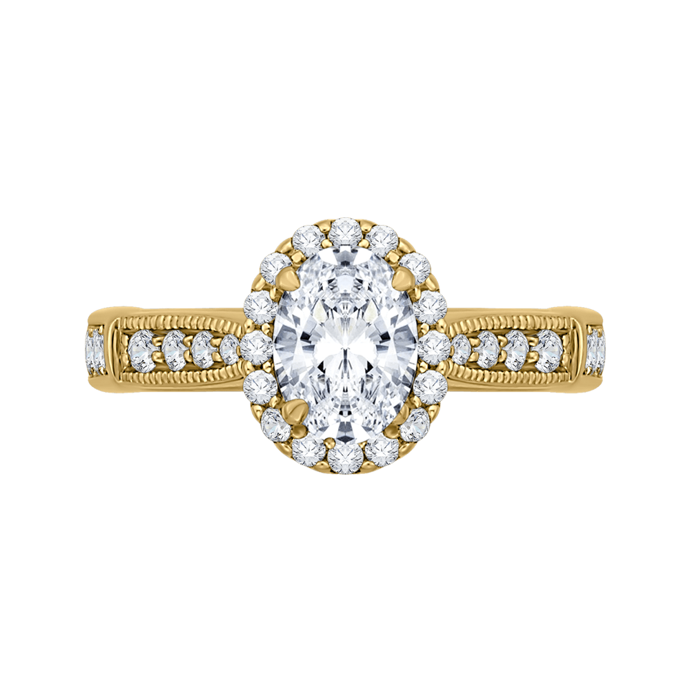 14K Yellow Gold Oval Diamond Halo Engagement Ring (Semi Mount) Engagement Ring CARIZZA