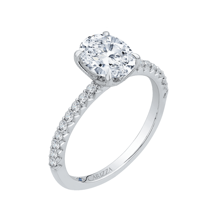 14K White Gold Oval Diamond Floral Engagement Ring (Semi Mount) Engagement Ring CARIZZA