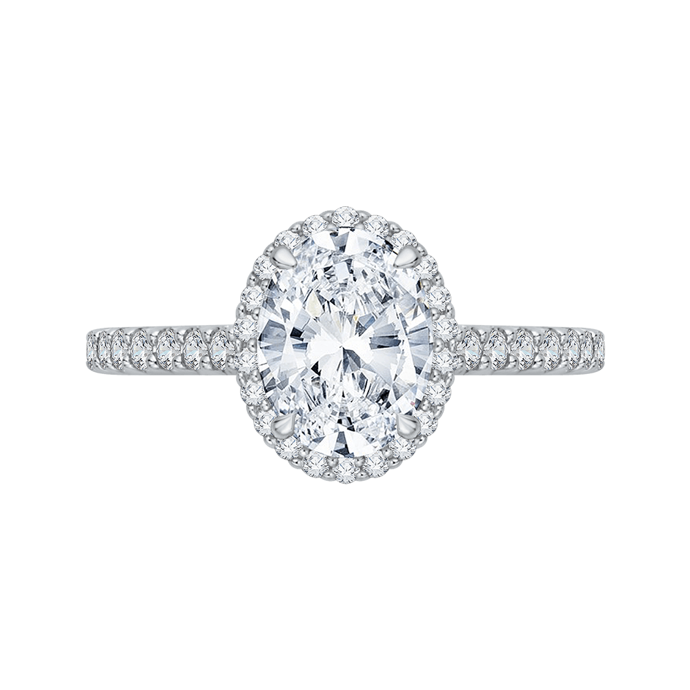 14K White Gold Oval Cut Diamond Halo Engagement Ring (Semi Mount) Engagement Ring CARIZZA