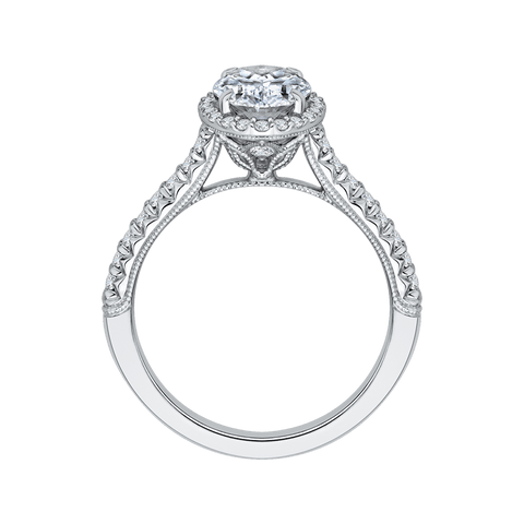 Image of 14K-White-Gold-Oval-Cut-Diamond-Halo-Engagement-Ring-(Semi-Mount)