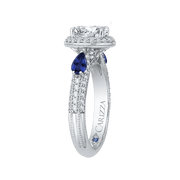 14K White Gold Oval Diamond Halo Engagement Ring with Sapphire (Semi Mount)