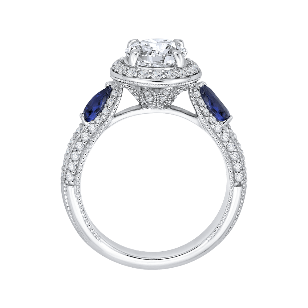 14K White Gold Oval Diamond Halo Engagement Ring with Sapphire (Semi Mount) Engagement Ring CARIZZA