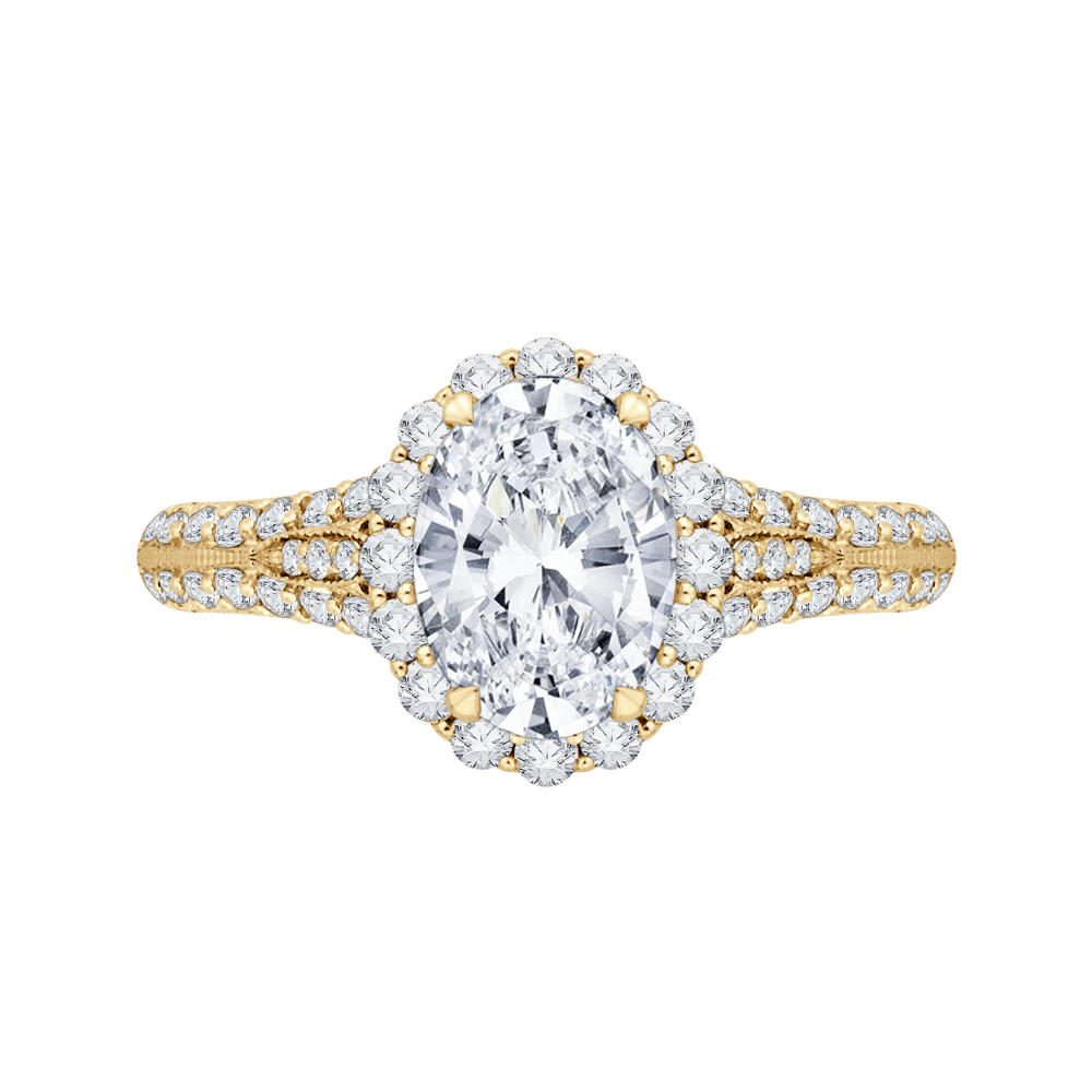 Oval Diamond Halo Vintage Engagement Ring In 14K Yellow Gold (Semi Mount) Engagement Ring CARIZZA