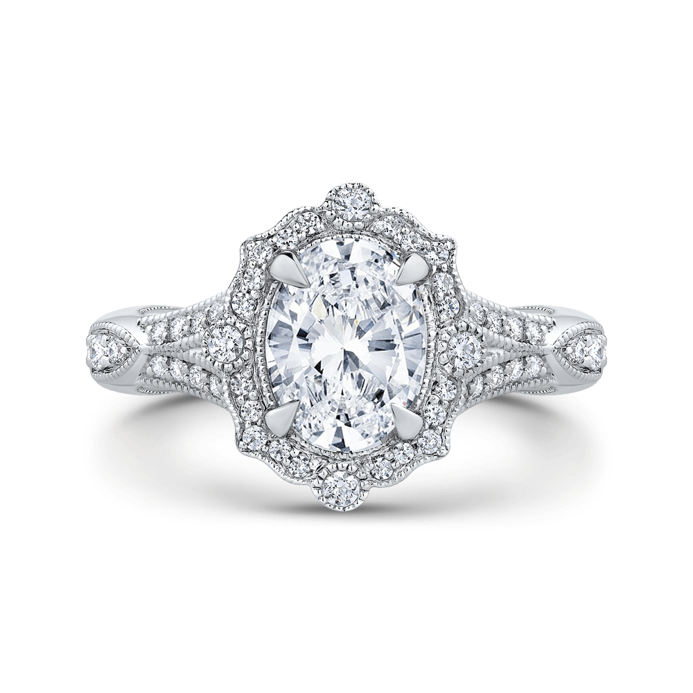 Oval Diamond Halo Engagement Ring In 14K White Gold with Split Shank (Semi Mount) Engagement Ring CARIZZA