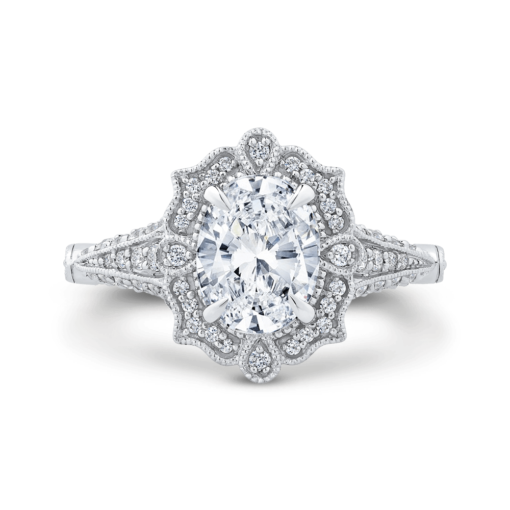 14K White Gold Oval Diamond Halo Vintage Engagement Ring (Semi Mount) Engagement Ring CARIZZA