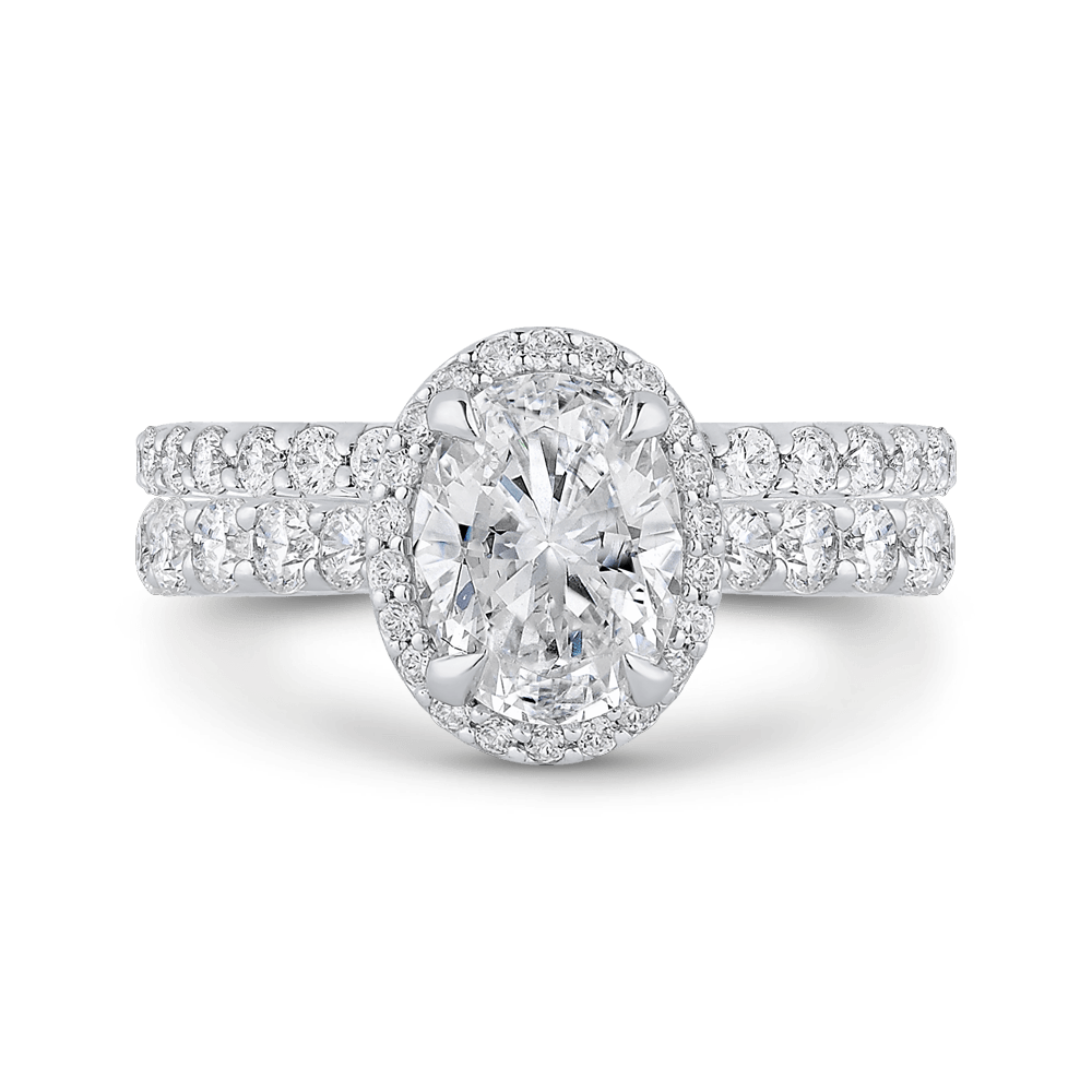 Oval Diamond Halo Engagement Ring In 14K White Gold (Semi Mount) Engagement Ring CARIZZA