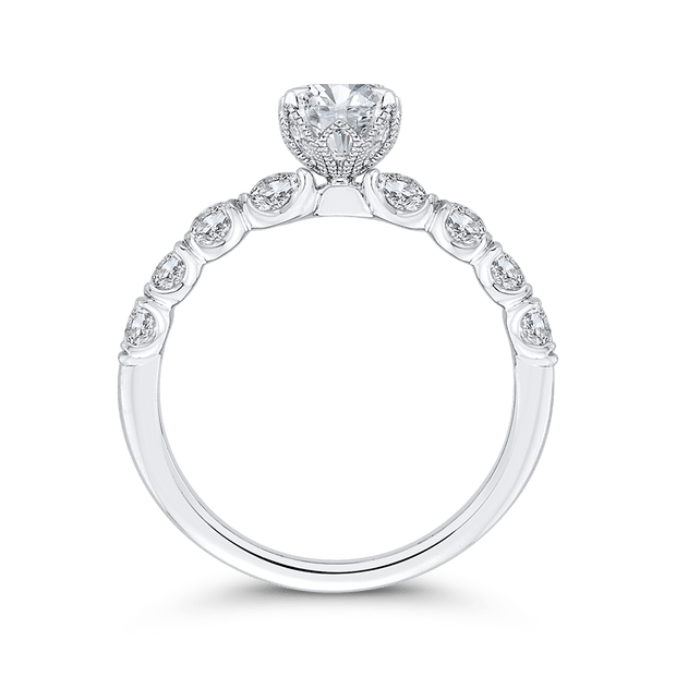14K White Gold Oval Diamond Engagement Ring (Semi Mount) Engagement Ring CARIZZA
