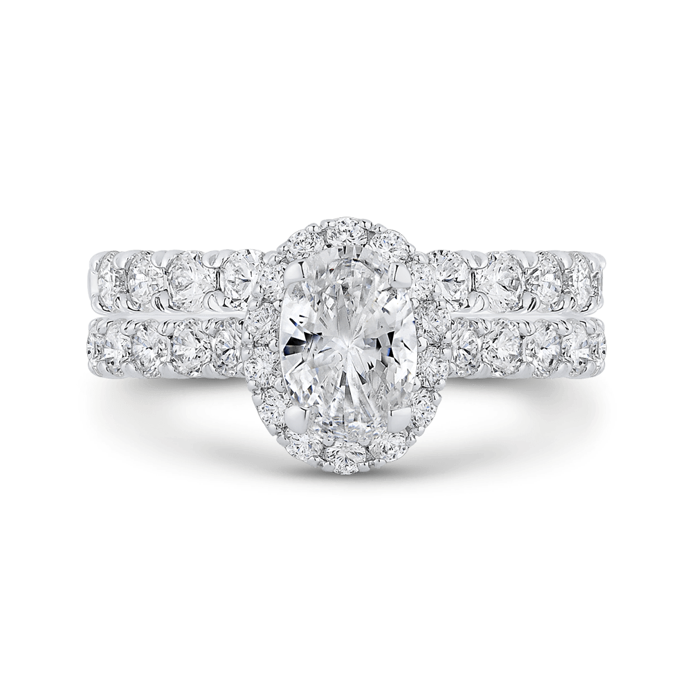 14K White Gold Oval Diamond Halo Engagement Ring (Semi Mount) Engagement Ring CARIZZA