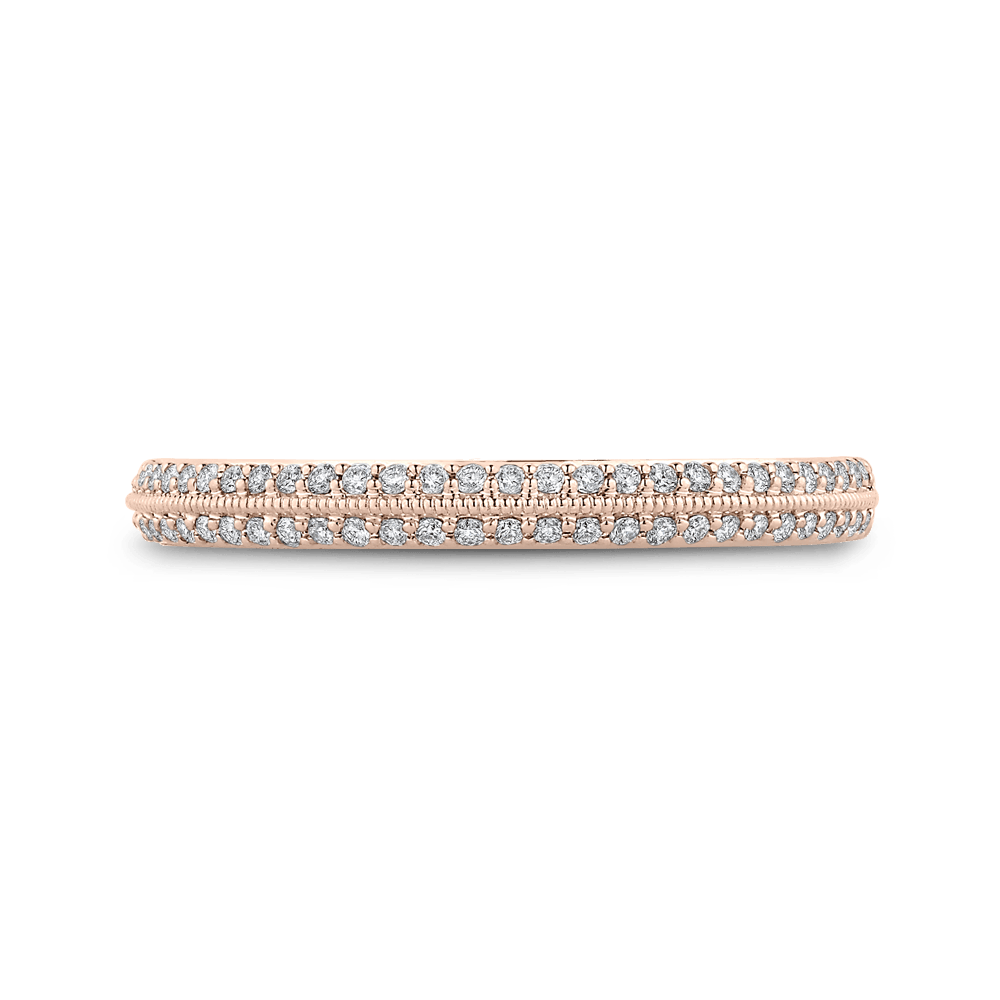 14K Rose Gold and Diamond Half-Eternity Wedding Band