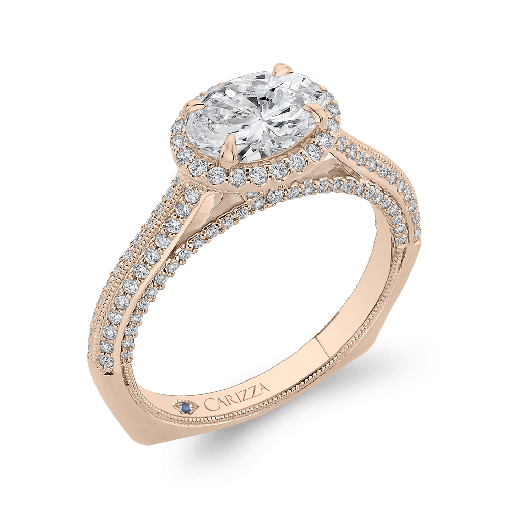 14K Rose Gold Oval Diamond Halo Engagement Ring with Euro Shank (Semi Mount) Engagement Ring CARIZZA