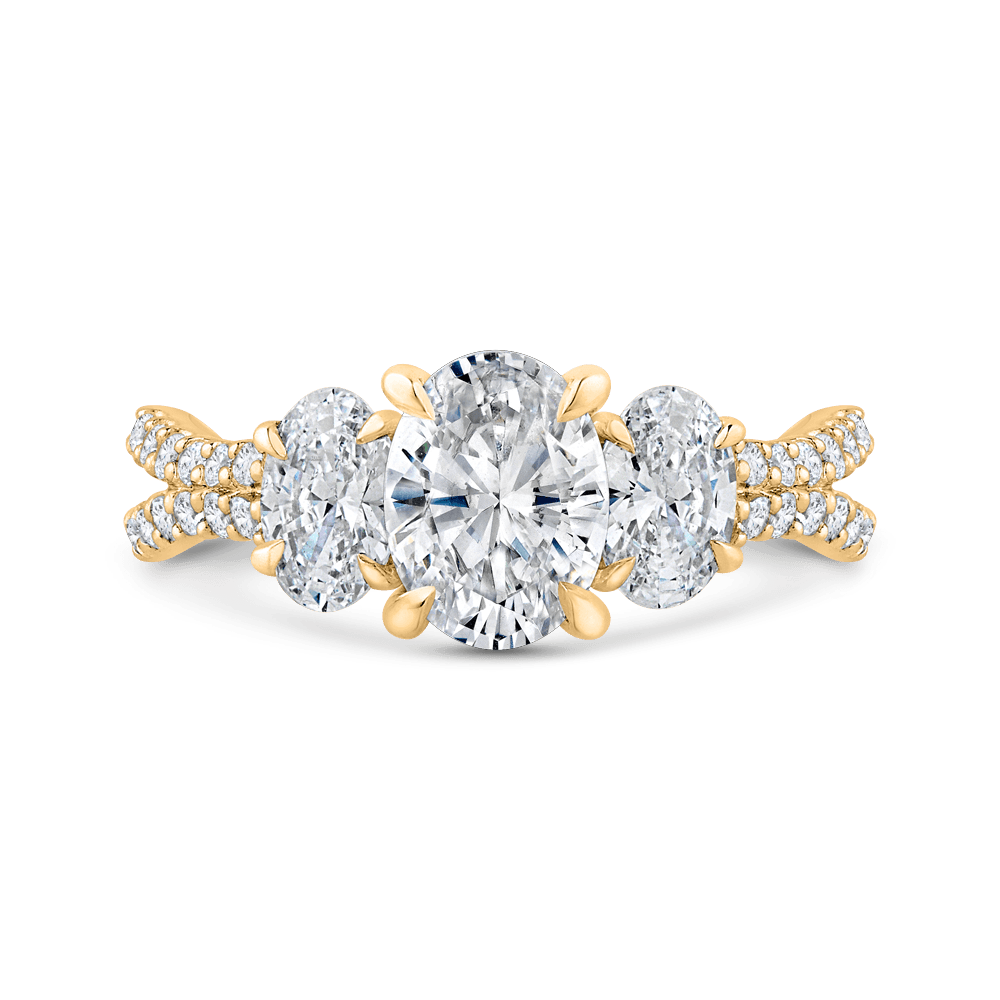 14K Yellow Gold Oval Diamond Three-Stone Plus Engagement Ring with Split Shank (Semi-Mount) Engagement Ring CARIZZA