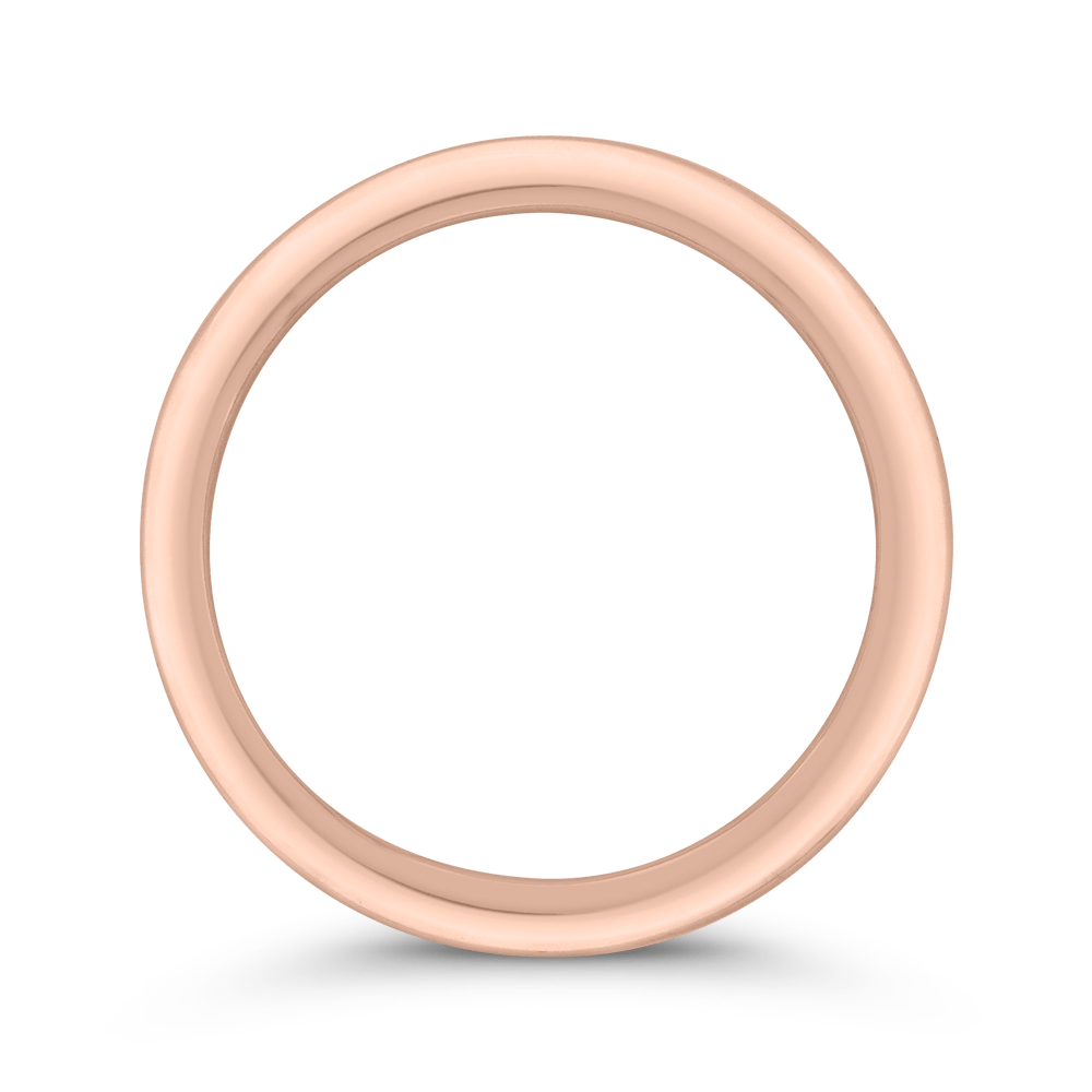 14K Rose Gold Plain Wedding Band with Milgrain Wedding Band CARIZZA