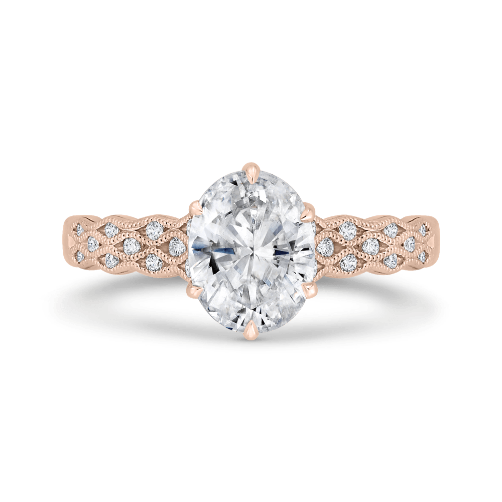 14K Rose Gold Oval Diamond Engagement Ring with Milgrain (Semi-Mount) Engagement Ring CARIZZA