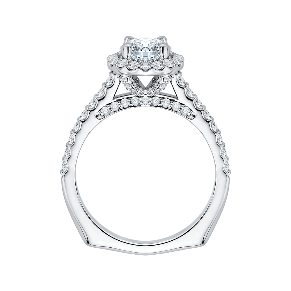 14K White Gold Princess Diamond Halo Engagement Ring (Semi Mount) Engagement Ring CARIZZA