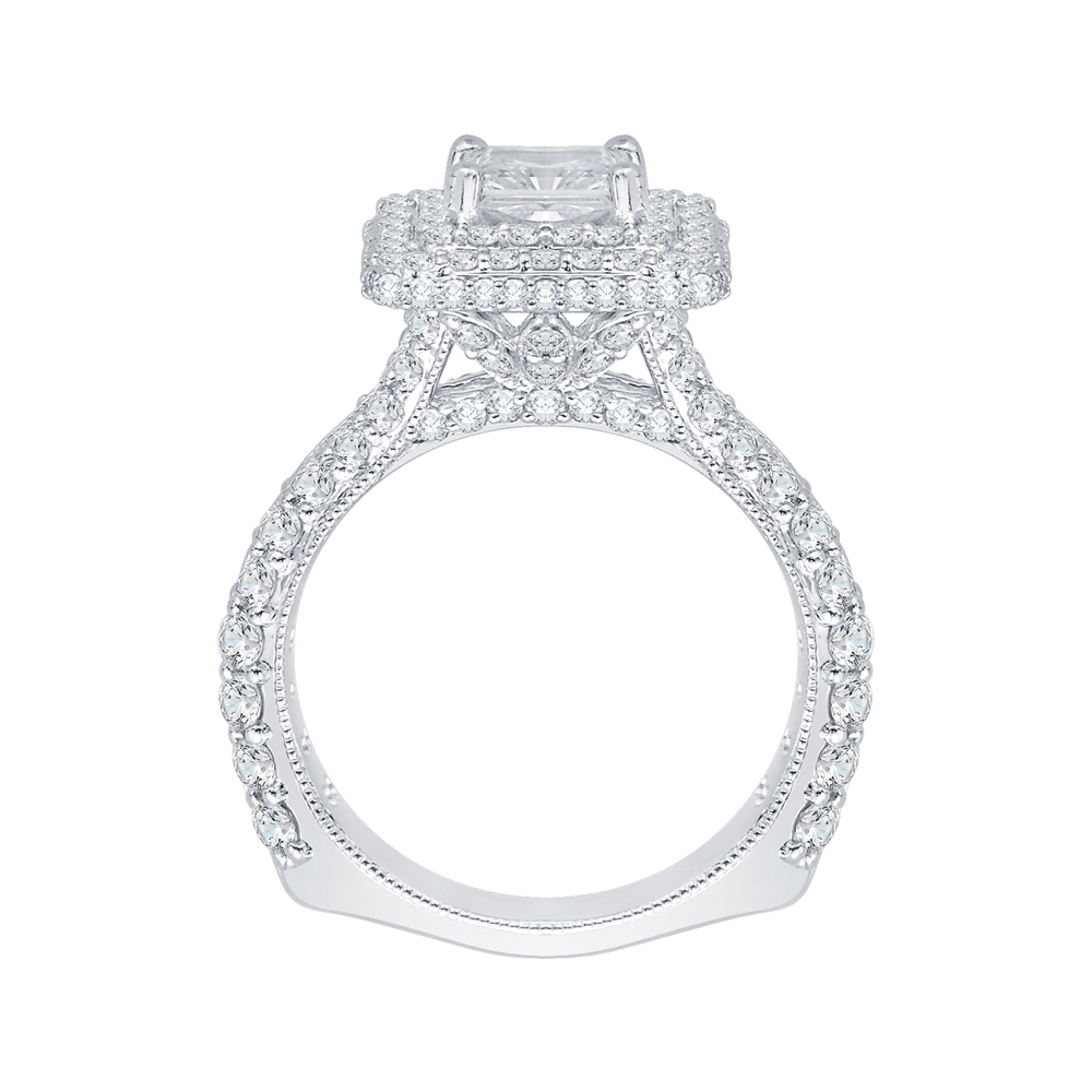 14K White Gold Princess Cut Diamond Double Halo Engagement Ring (Semi Mount) Engagement Ring CARIZZA